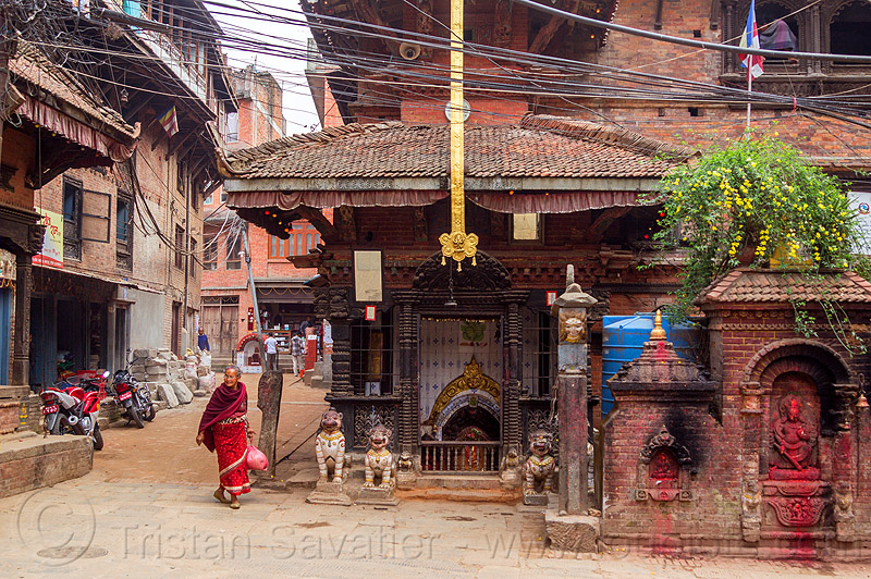 old shrines in street - bhaktapur (nepal), bhaktapur, hindu shrine, hinduism, street