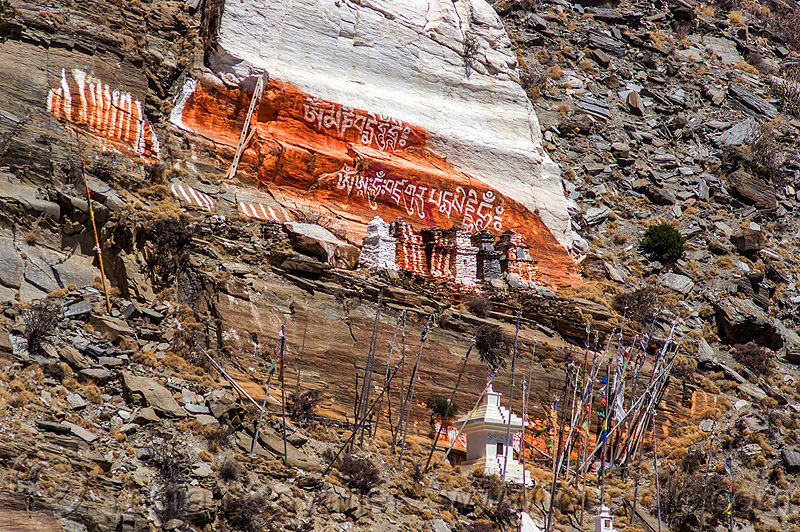 old stupas and painted cliff - marpha (nepal), annapurnas, buddhism, cliff, kali gandaki valley, marpha, painted, prayer flags, stupas, tibetan, village