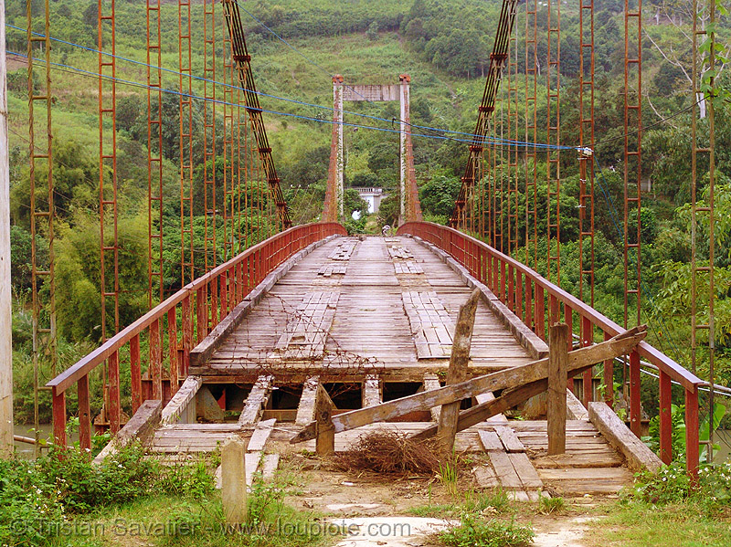 old suspension bridge, disused - vietnam, red, suspension bridge, vietnam