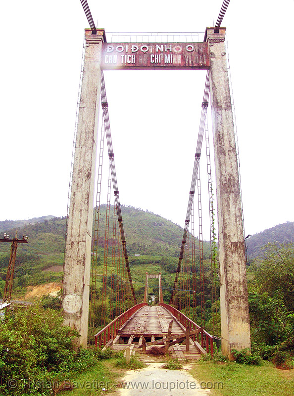 old suspension bridge, disused - vietnam, infrastructure, red