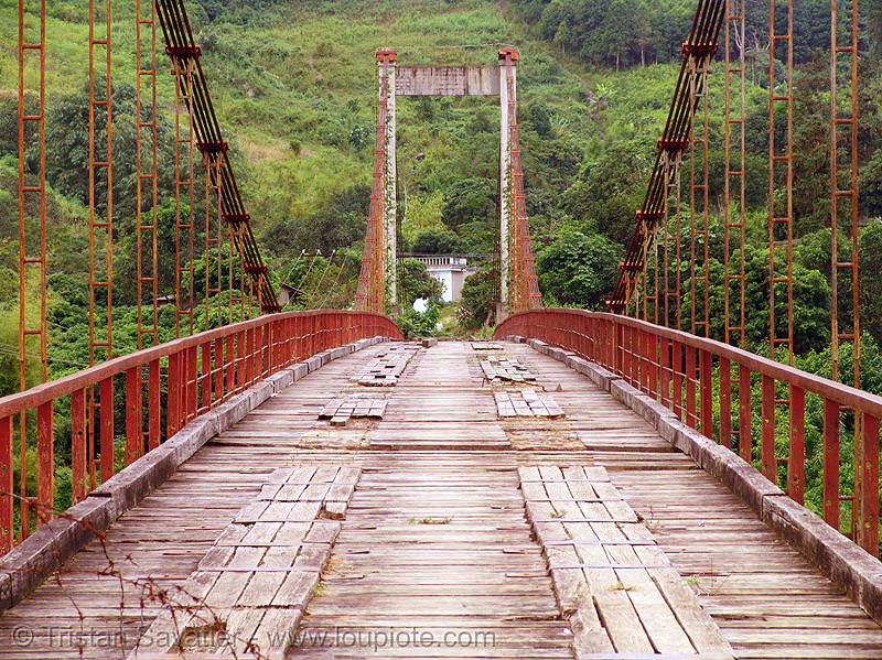 old suspension bridge, disused - vietnam, infrastructure, red, suspension bridge