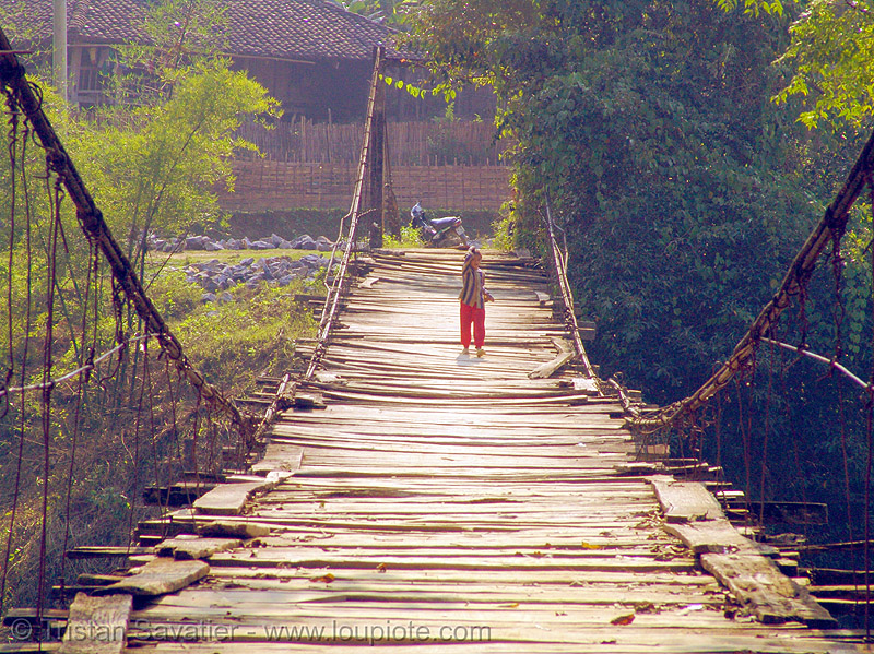 old suspension bridge - vietnam, infrastructure, suspension bridge, tat nga, tát ngà