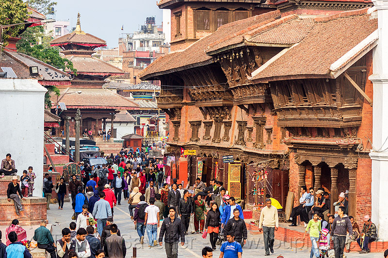 old traditional nepali houses with newar windows in kathmandu, brick, crowd, durbar square, house, old house, people, street, wooden