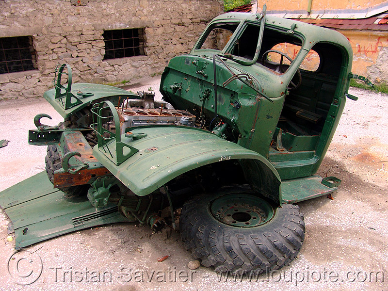 old truck wreck - army truck, dismantled, green, lorry, scavenged, soviet, street, truck cab, wreck, българия