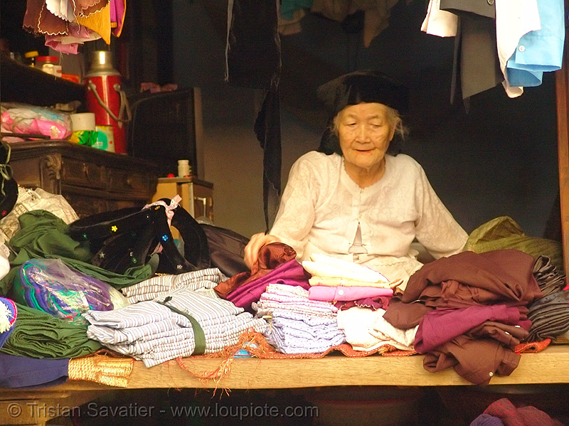 old woman's cloth store - vietnam, asian woman, cloth store, fabric, hanoi, mature woman, old woman
