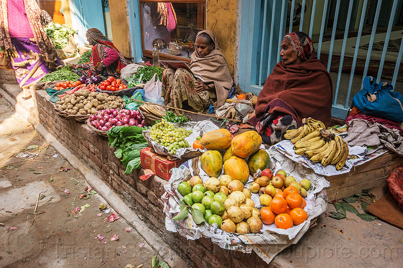 old women selling fruits and vegetables on street sidewalk (india), farmers market, fruits, india, merchant, old woman, old women, produce, shop, sitting, stall, street market, street seller, street vendors, varanasi, vegetables, veggies