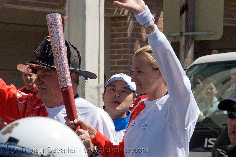 olympic torch relay / run (san francisco), chinese, flame, olympic athletes, olympic torch relay, olympics, runners, torch bearer
