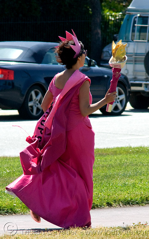 olympic torch relay / run (san francisco), dress, flames, olympics, people, pink, protester, woman