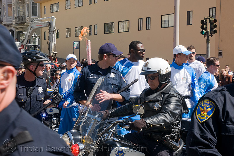 olympic torch relay / run (san francisco), chinese, cops, flames, harley davidson, law enforcement, motorbike, motorcycle unit, olympic torch relay, olympics, police officers, san francisco police department, sfpd, street
