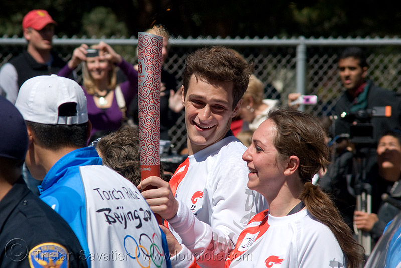olympic torch relay / run (san francisco), athletes, flame, olympic athletes, olympics, people, runners, torch bearer