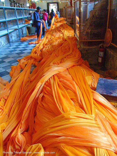 orange clothing in giant golden buddha chinese temple - สุโขทัย - sukhothai - thailand, cloth, wat, ประเทศไทย, สุโขทัย