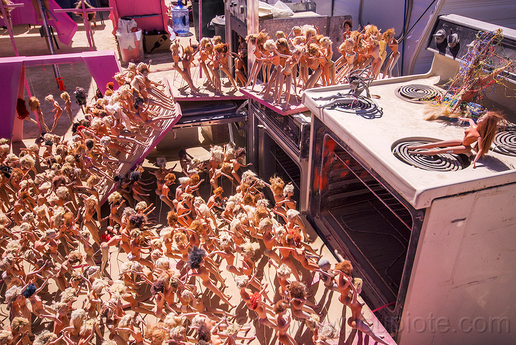 ovens at the barbie death camp - burning man 2015, barbie death camp, barbie dolls, burning man, ovens