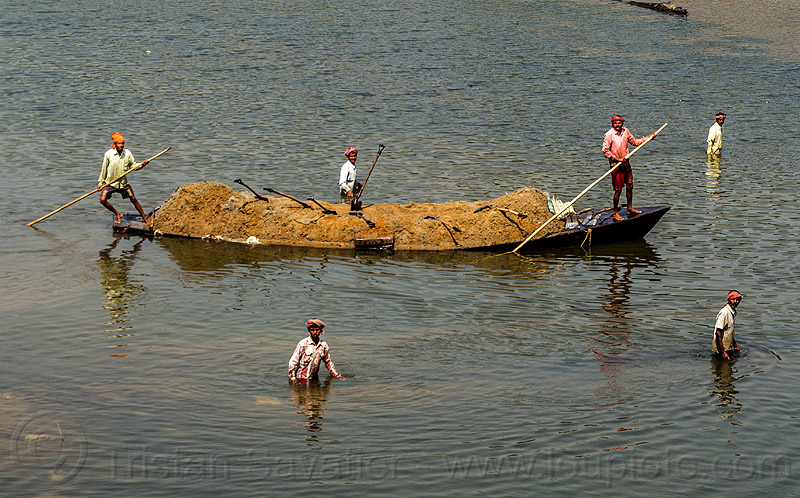 overloaded river boat loaded with sand (india), cargo, dahut river, freight, loaded, men, overloaded, poles, river boat, sand, shovels, small boat, transport, transporting, wading, walking, water, west bengal, workers, working