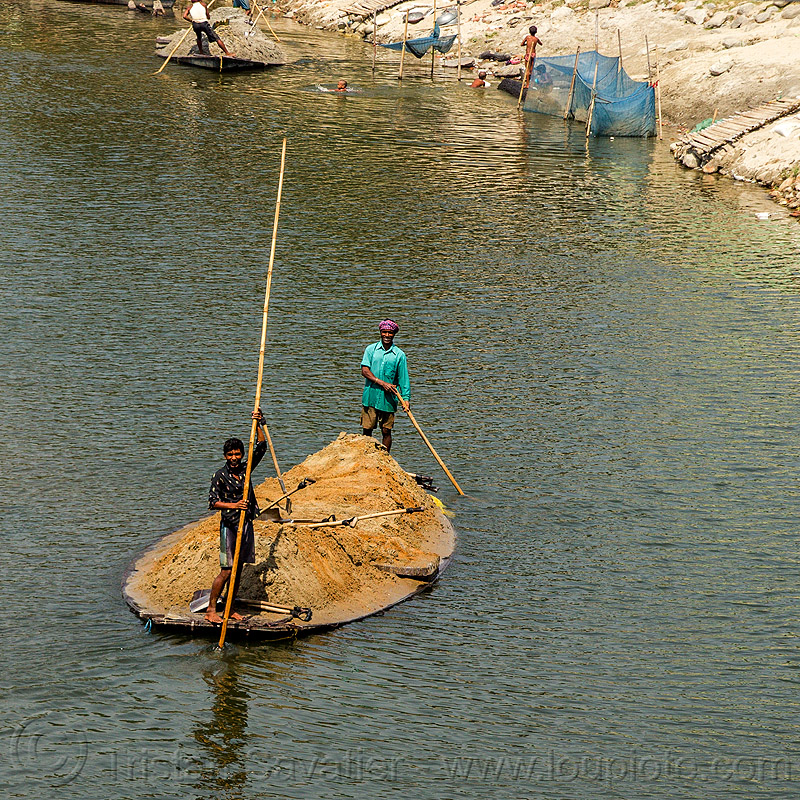 overloaded river boat transporting sand (india), cargo, dahut river, freight, loaded, men, overloaded, poles, river boat, sand, shovels, small boat, transport, transporting, water, west bengal, workers, working