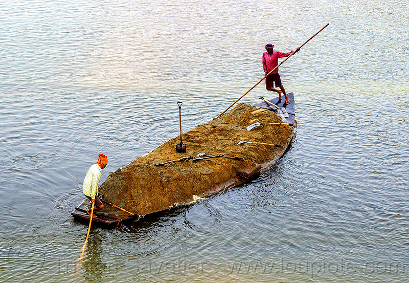 overloaded sand boat (india), cargo, dahut river, freight, india, loaded, men, overloaded, poles, river boat, sand, shovels, small boat, transport, transporting, west bengal, workers, working