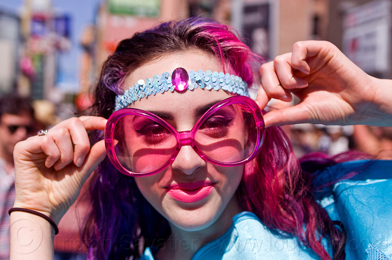 oversize pink sunglasses - bridgee, bridget, headband, how weird festival, pink, sunglasses, woman