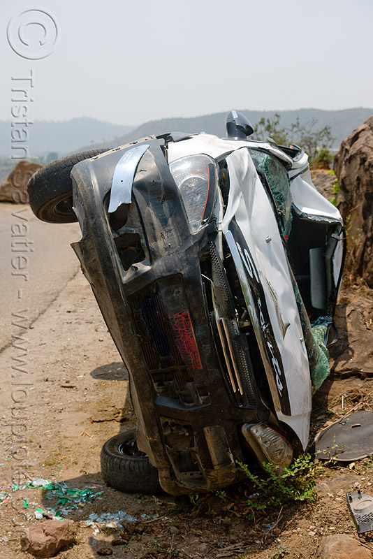 TATA indica, accident, car, car accident, crash, front, kashmir, overturned, overturned car, road, rollover, tata motors, traffic, traffic accident, white, wreck