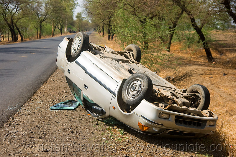 overturned car in ditch, car accident, car crash, overturned car, road, rollover, traffic accident, up side down, wreck
