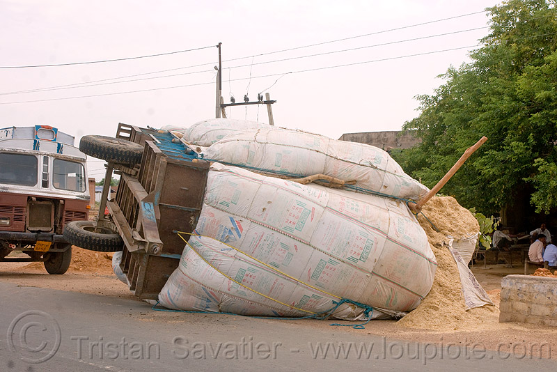 overturned farm trailer (india), crash, overturned, road, rollover, traffic accident, trailer, wreck