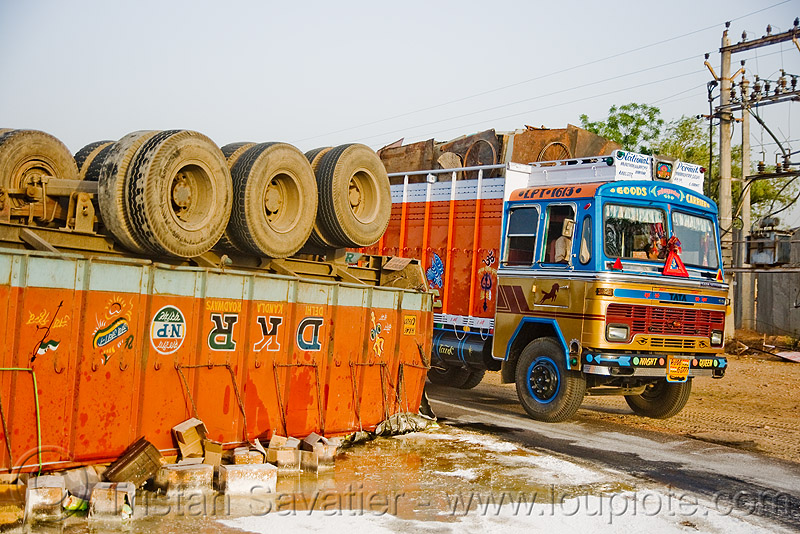 overturned semi truck accident - (india), artic, articulated lorry, crash, india, overturned truck, road, rollover, semi truck, semi-trailer, tata motors, tractor trailer, traffic accident, truck accident, up side down, wreck