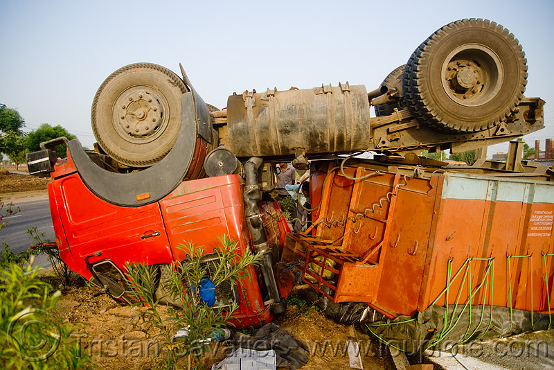 overturned semi truck - big rig accident - (india), artic, articulated lorry, cabin, collision, crushed, india, overturned truck, road crash, rollover, semi truck, semi-trailer, tata motors, tractor trailer, traffic accident, traffic crash, truck accident, up side down, wreck