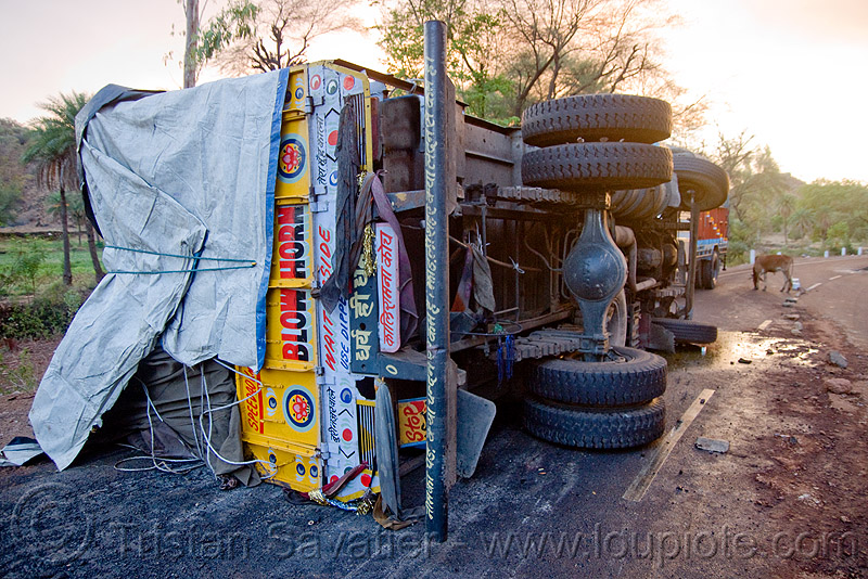 overturned truck - truck accident (india), crash, lorry, road, rollover, tata, tata motors, traffic accident, wreck