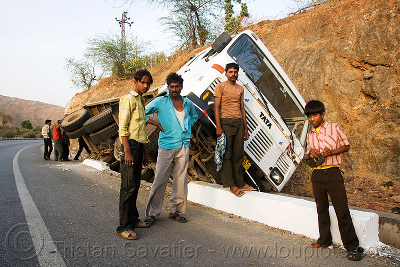 overturned truck (india), crash, ditch, india, lorry, men, overturned truck, road, tata motors, traffic accident, truck accident, wreck