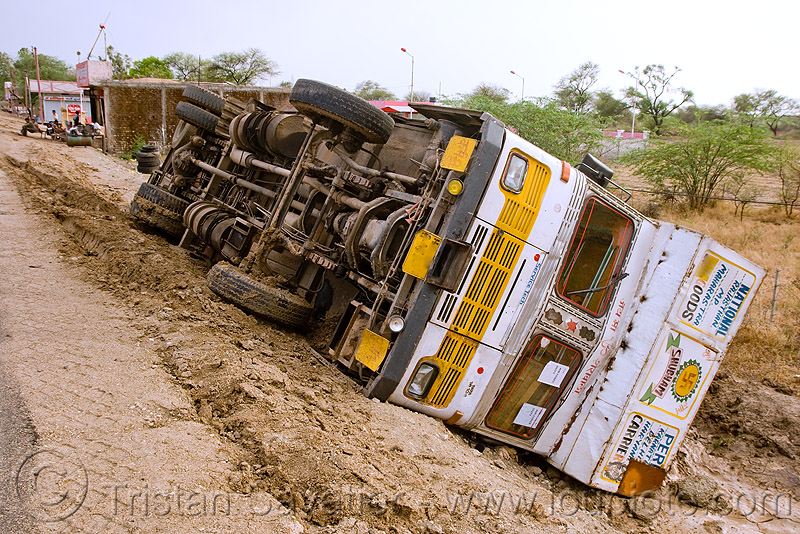 overturned truck (india), crash, ditch, lorry, overturned truck, road, rollover, tata motors, traffic accident, truck accident, underbelly, up-side-down, wreck