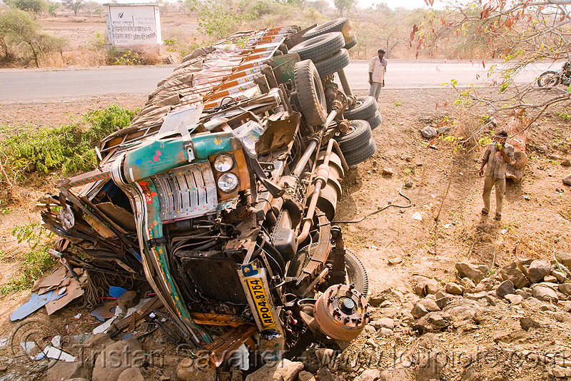 overturned truck (india), cab, cabin, crash, crushed, frontal collision, lorry, overturned truck, road, rollover, tata motors, traffic accident, truck accident, underbelly, wreck