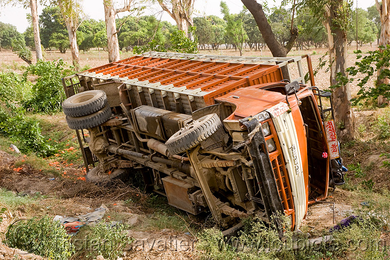 overturned truck (india), crash, ditch, india, lorry, overturned truck, road, rollover, traffic accident, truck accident, underbelly, wreck