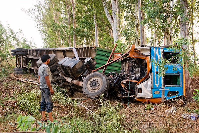 overturned truck (india), accident, crash, ditch, lorry, people, road, traffic accident, truck accident, wreck