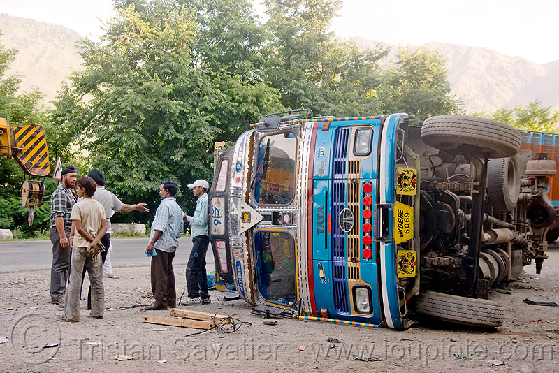 overturned truck - kashmir, kashmir, lorry, overturned truck, road, rollover, tata motors, traffic accident, truck accident
