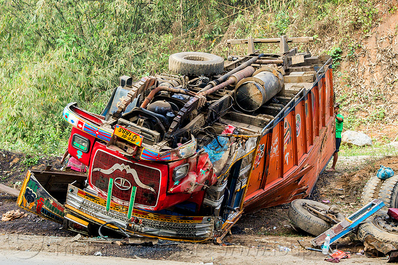 overturned truck - traffic accident (india), cab, cabin, crash, crushed, ditch, lorry, overturned, road, rollover, tata motors, traffic accident, truck accident, underbelly, up-side-down, wreck