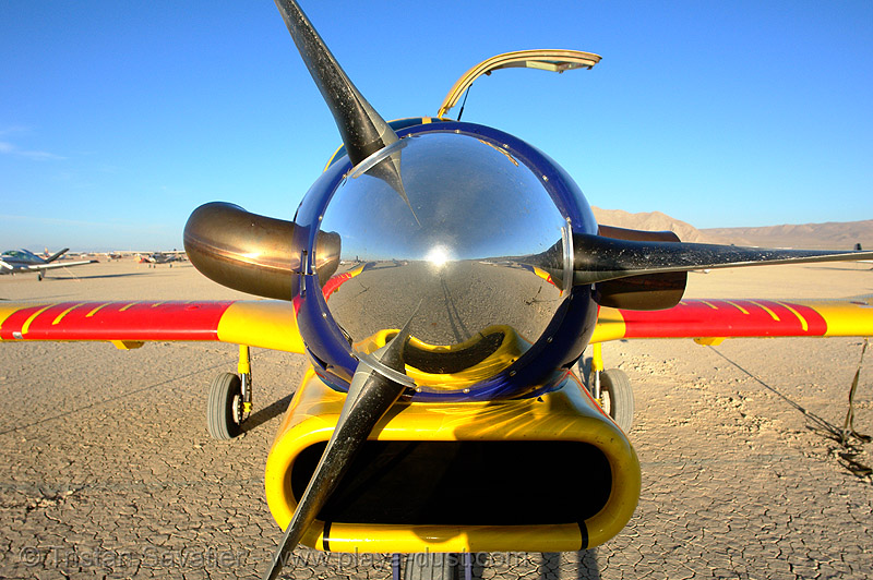 PAC 750XL airplane propeller cone, aircraft, art, burning man, burning sky, pac 750, pacific aerospace corporation, parked, plane, plane propeller, red, reflection, skydiving, small plane, turbo, turbo prop, yellow