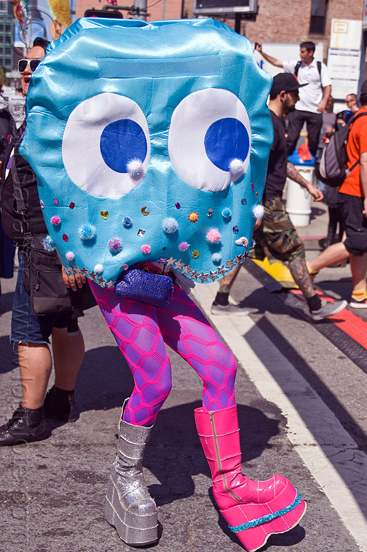 pacman ghost costume, bridget, eyes, festival, how weird festival, legs, people, woman