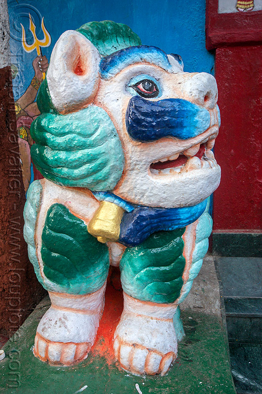 painted stone lion statue at temple (india), colorful, darjeeling, hindu temple, hinduism, india, mustache, observatory hill, painted, sculpture, statue, stone lion