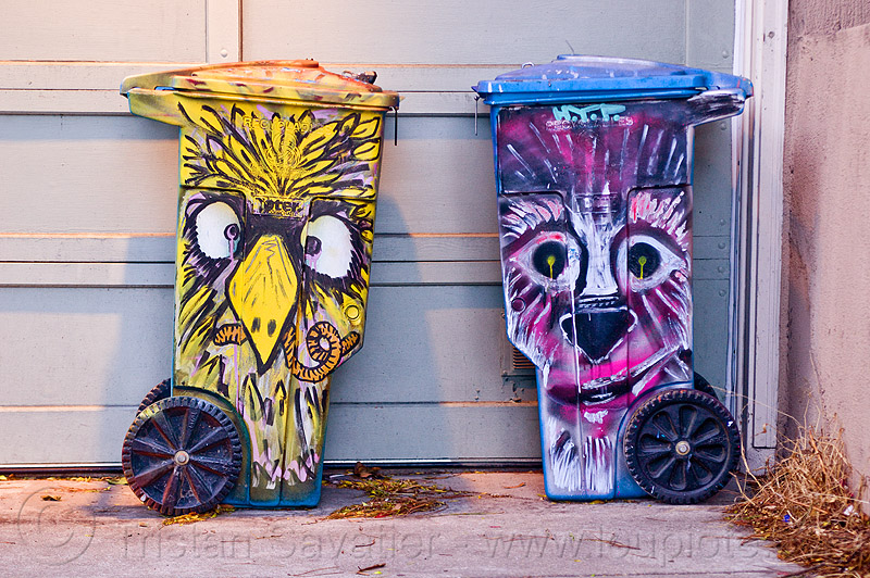 painted trash bins - urban wildlife, cartoonish, earthworm, garage door, hand painted, owl, raccoon, trash cans, trash containers, two, worm