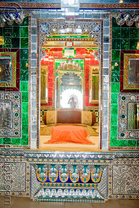 palace - udaipur (india), interior, mirror room, mirrors, mosaic, palace, udaipur