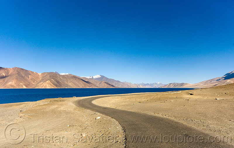 pangong lake - road, mountains, spangmik, water