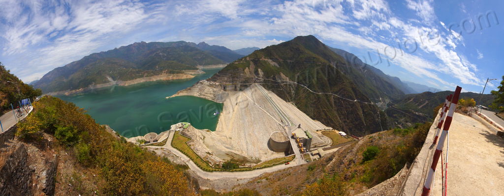 panorama of the tehri dam and lake (india), artificial lake, bhagirathi river, bhagirathi valley, hydro electric, infrastructure, mountains, reservoir, tehri dam, tehri lake, water