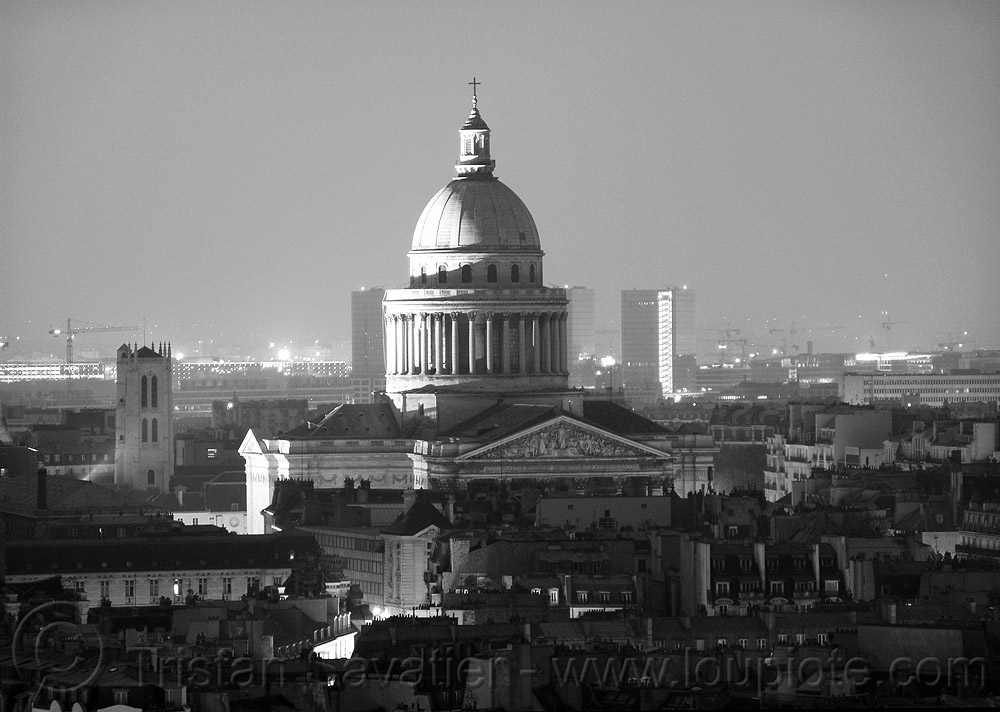 panthéon dome at night (paris), aerial photo, church, city, cityscape, dome, eglise, monument, night, pantheon, panthéon, paris, skyline, tour clovis