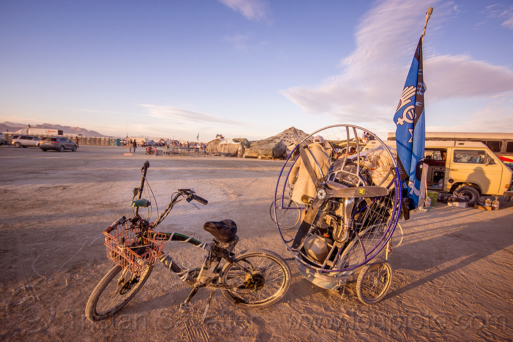 paramotor - burning man 2015, bike, brad gunnuscio, paramotoring, powered paraglider, powered paragliding, propeller