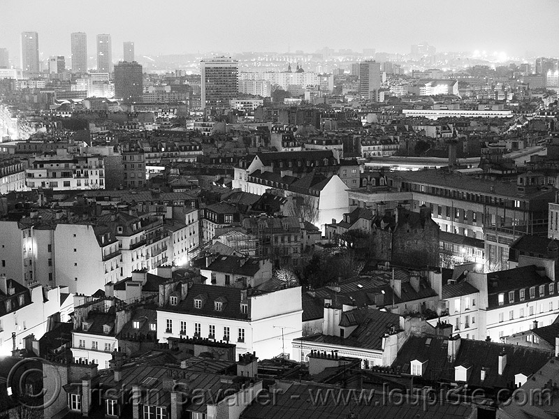 paris roofs aerial view, aerial photo, buildings, city, cityscape, houses, night, paris, skyline