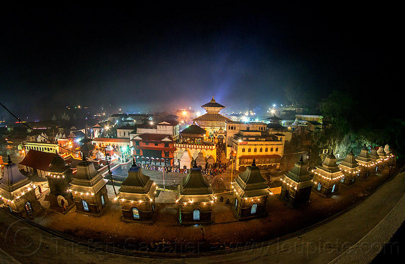 pashupatinath temple at night - kathmandu (nepal), fisheye, hindu temple, hinduism, kathmandu, maha shivaratri, night, pashupatinath temple, shrines
