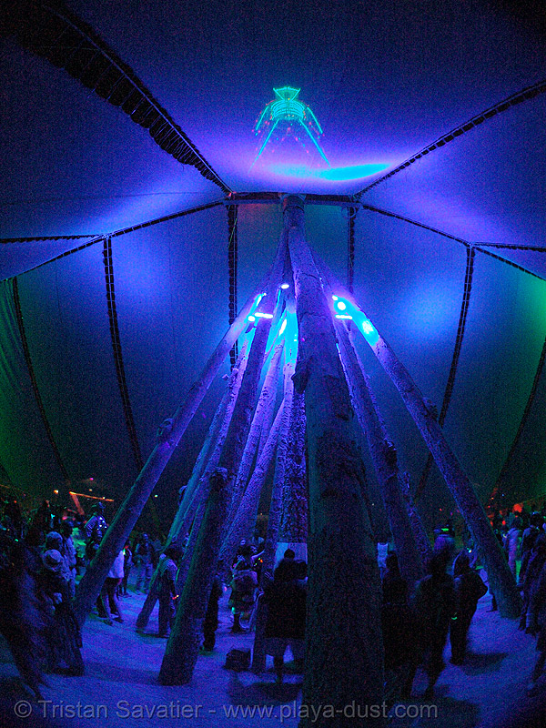 the pavillon under the man - burning man 2007, blue, burning man, first man, night, pavillion, the man