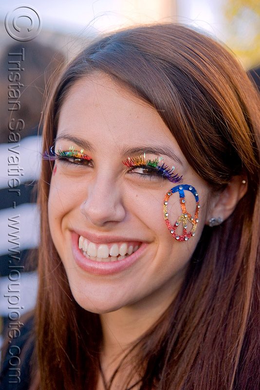 peace sign bindi - rainbow eyelashes - girl, bindis, festival, jewelry, love fest, lovevolution, people, rainbow colors, v sign, woman