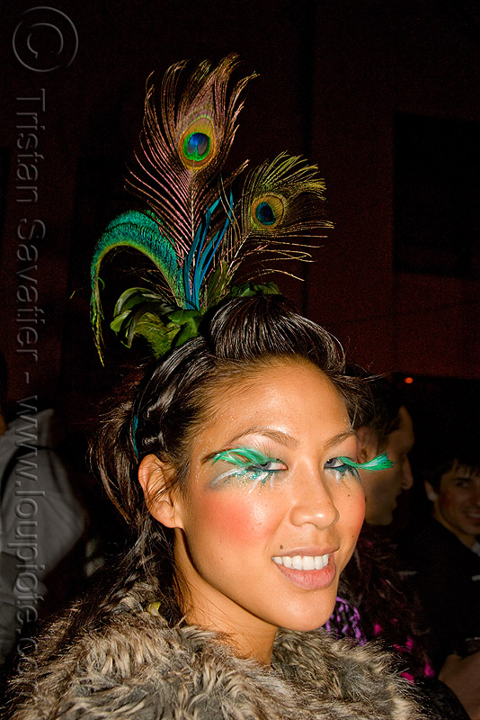 peacock feathers headdress - jane - ghostship halloween party on treasure island (san francisco), costume, eyelashes, ghostship 2009, halloween, jane, peacock feathers, rave party, space cowboys, woman