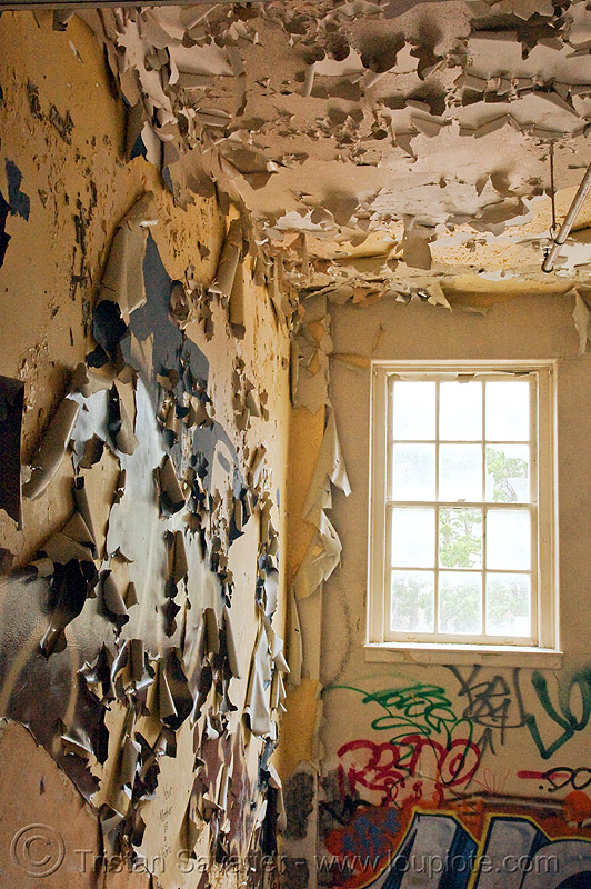 peeling paint - abandoned hospital (presidio, san francisco) - PHSH, abandoned building, decay, graffiti, presidio hospital, presidio landmark apartments, trespassing, urban exploration
