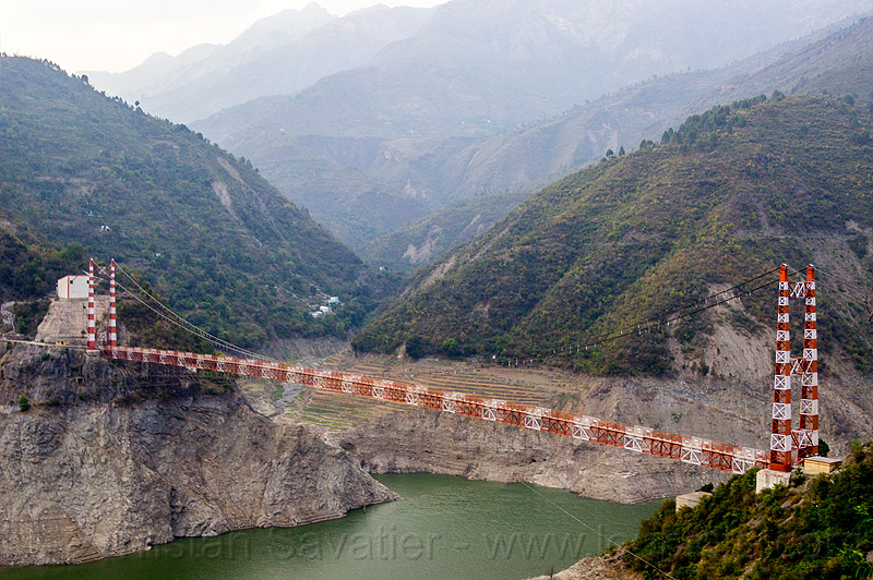 peepal dali suspension bridge over tehri reservoir (india), artificial lake, bhilangna valley, forest, infrastructure, mountains, peepal dali bridge, pipal dali bridge, red, road, tehri lake, water, white