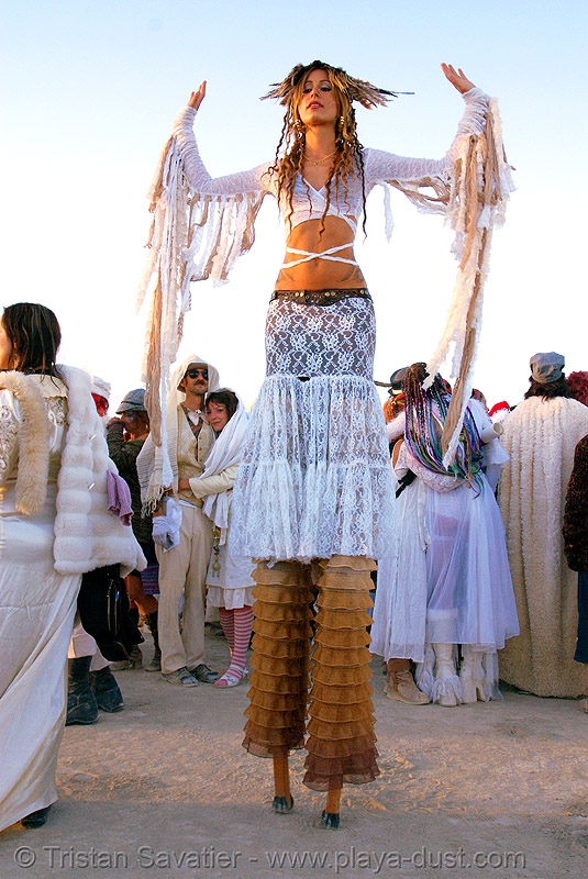 pema at the silent white procession - burning man 2007, burning man, dawn, pema, stilt walkers, stilts, stiltwalker, stiltwalking, white morning, woman